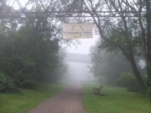 The rail trail follows the same route as the former Panhandle Division of the Pennsylvania Railroad that connected Pittsburgh to St. Louis.