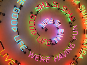 Bruce Nauman; Having Fun/Good Life, Symptoms, 1985